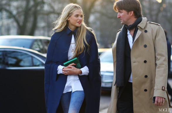 Gabriella Wilde and Tom Hooper by phil oh-lfw street style