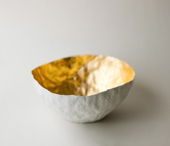 Up in the Air Somewhere Large Gold Paper Bowl-2