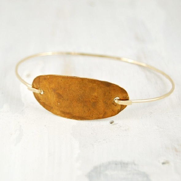 fail desert oval bangle with large brass oval