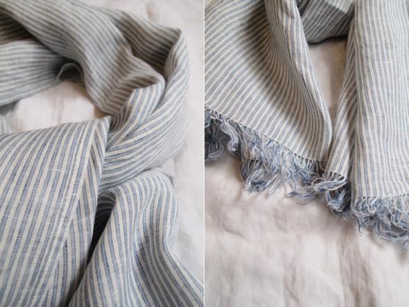 khadi & co  blue striped scarf