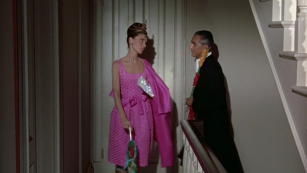 56e845481 ... Audrey Hepburn's style in Breakfast at Tiffany's 22. A hot pink silk cocktail  dress ...