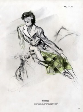 hermes-couture-1947 by illustrator Raymond Brenot