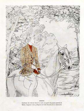 hermes-couture-1948-illustration by bernard blossac