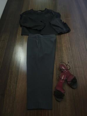 Scanlan&Theodore Ruffle detailTop, VanessaBruno Cropped Pants, Prada Sandals