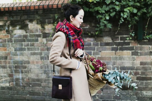 checked scarf-Shini of Park and Cube