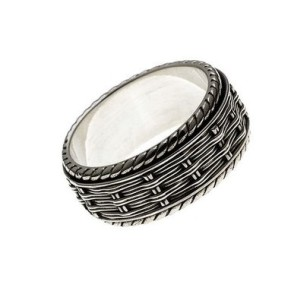 Cynthia Gale herringbone embroidered spin ring