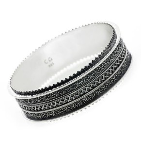 Cynthia Gale_Dharmachakra sterling bangle