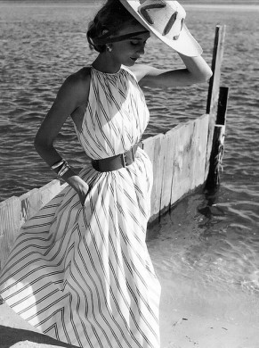 Helen Beatty in Claire McCardell- Herman Landshoff-Mademoiselle 1951