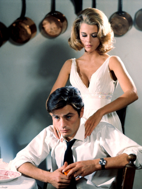 Alain Delon And Jane Fonda On Set Of Movie Les Felins Directed By Rene Clement