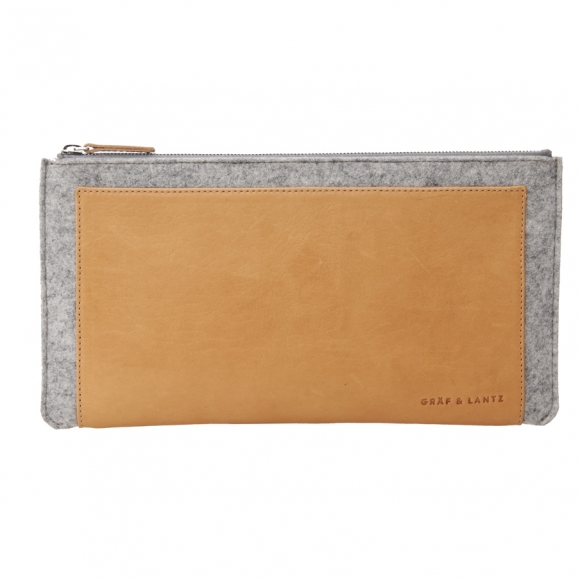 Graf and Lantz merino wool felt and leather clutch