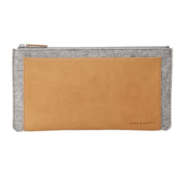 Graf and Lantz merino wool felt and leather clutch