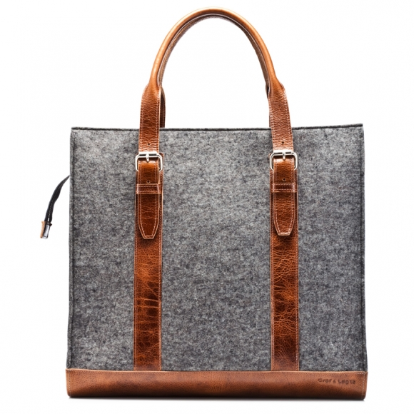Graf and Lantz wool and leather carry all tote