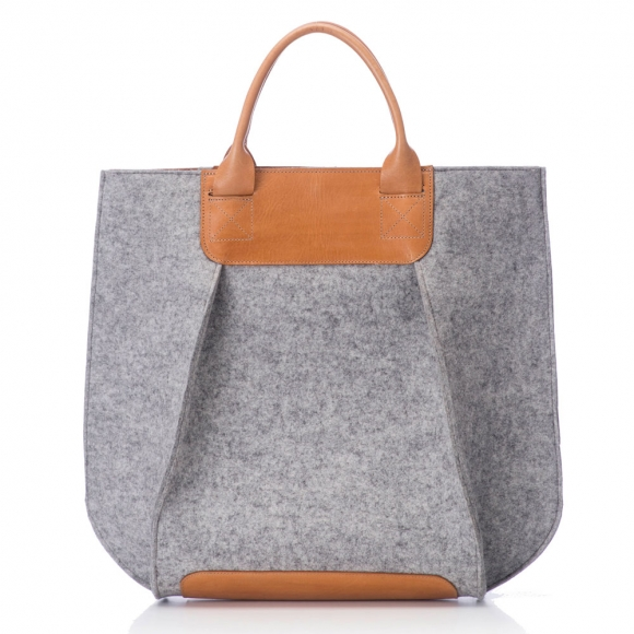 Graf and Lantz wool and leather tote