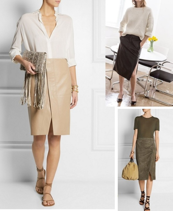 The way to wear the leather skirt