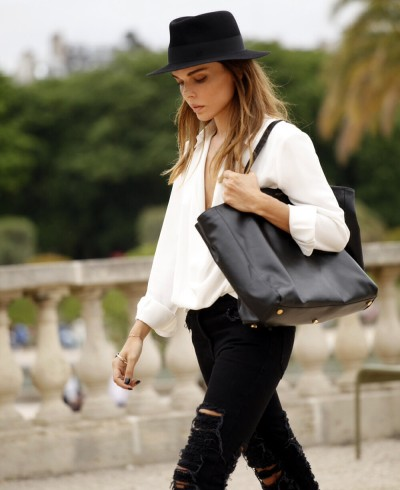 White shirt and black jeans