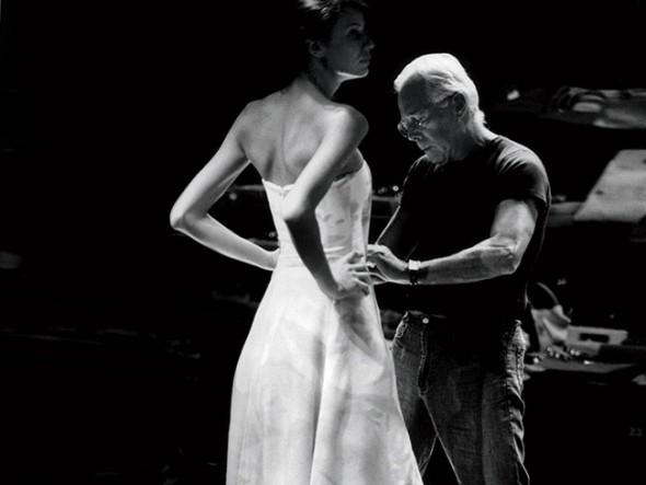 Giorgio Armani in his atelier