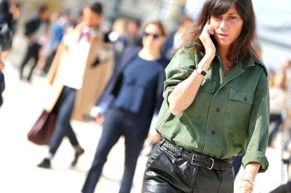 Emmanuelle Alt military shirt