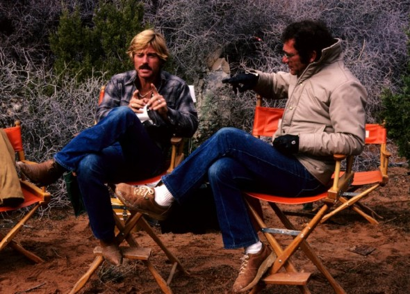 Robert Redford Sydney Pollack on set