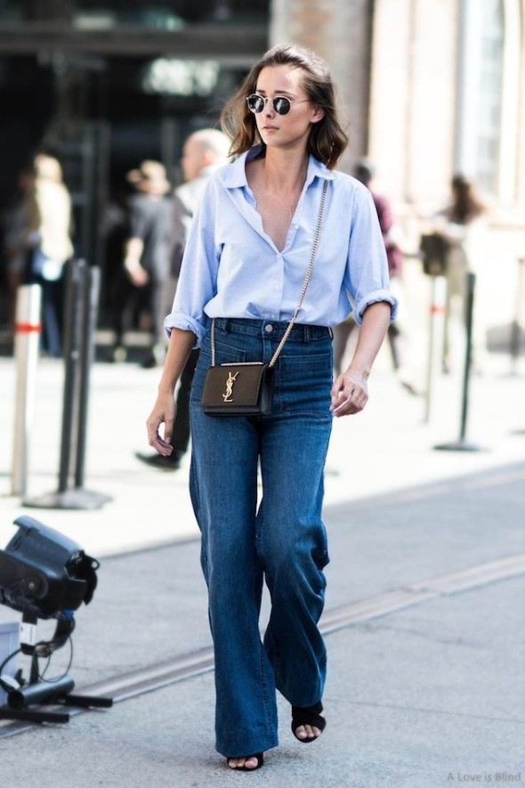 Wide leg jeans and shirt