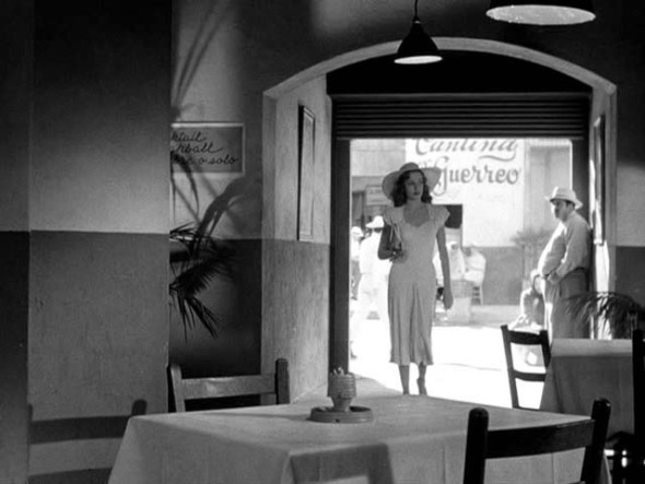 The femme fatale is wearing white-Jane Greer in Out of the Past
