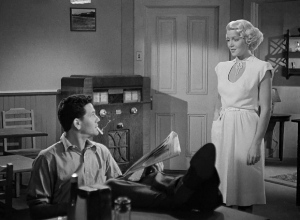 The femme fatale is wearing white-Lana Turner in The Postman Aways Rings Twice