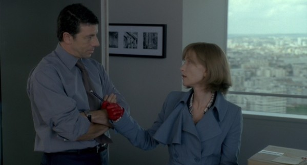 Isabelle Huppert red leather gloves A Comedy of Power