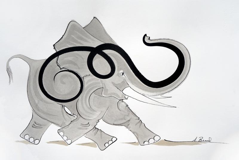 Gestural Elephant 2017 Alex Beard