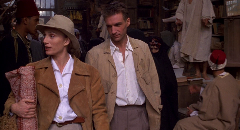 The leather jacket - Kristin Scott Thomas in The English Patient